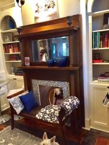 Carriage House #4 foyer. antique mantel and desk area